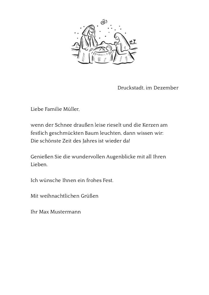 Drucke selbst! Kostenlose Vorlage mit Mustertext für einen persönlichen Weihnachtsbrief