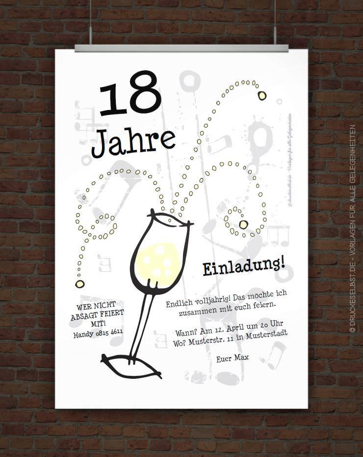 Drucke selbst! Einladungskarte mit Sektglas kostenlos gestalten und drucken