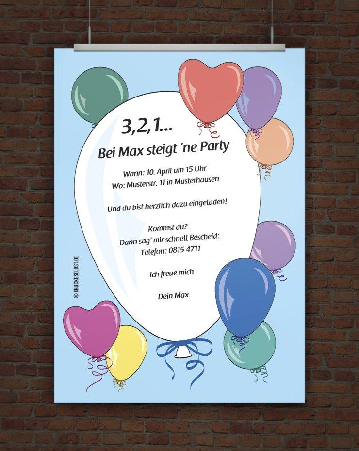 Drucke selbst! Kostenlose Einladung Geburtstagsparty mit Ballons