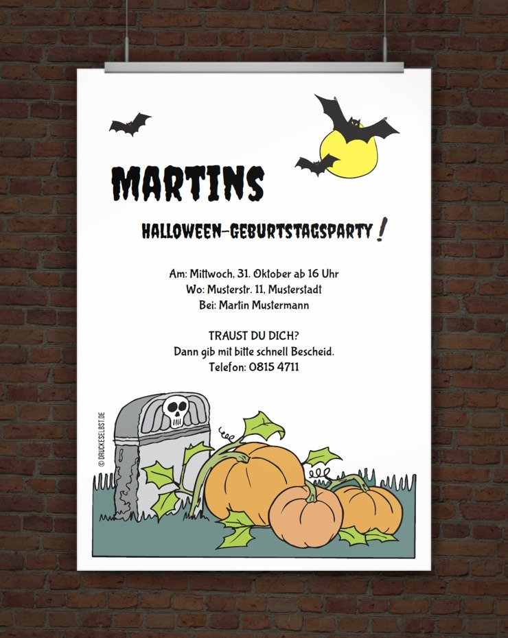 Drucke selbst! Kostenlose Einladung zur Halloweenparty zum ...