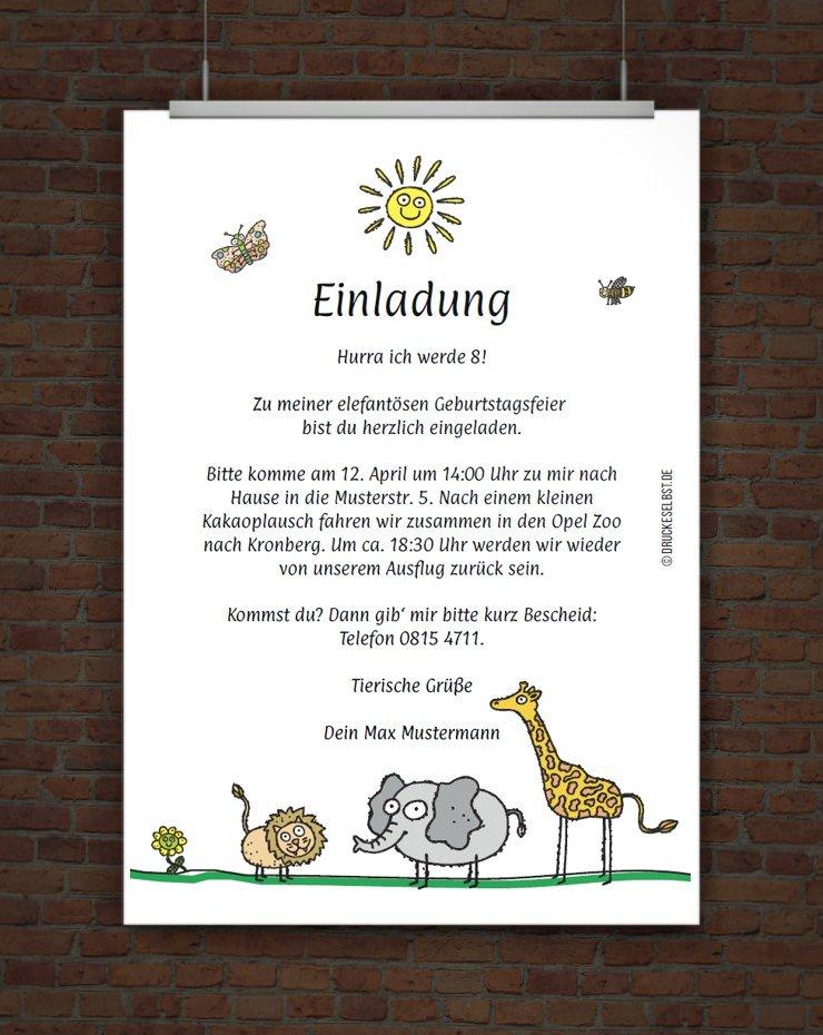 Drucke selbst! Lustige Kindergeburtstagseinladung für einen Zoobesuch