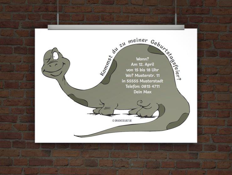 Drucke selbst! Einladungskarte Dino