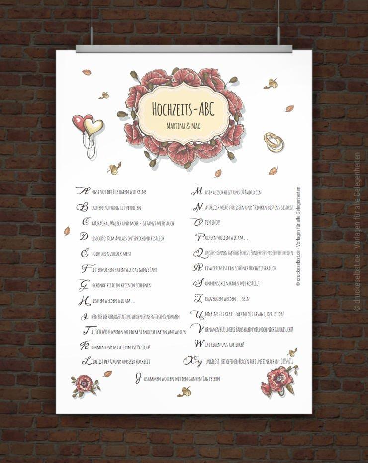 Drucke selbst! Kostenloses Hochzeits-ABC zum Ausdrucken