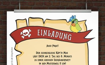 Drucke selbst! Einladung für einen Piratengeburtstag mit lustigem ...