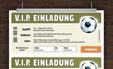 Drucke selbst! Kostenlose Vorlage Fußballeinladung