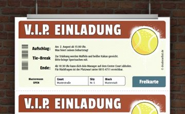Kostenlose Fussballeinladung · VIP Tennis Ticket