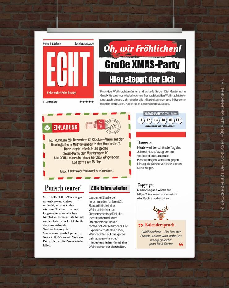 Drucke selbst lustige weihnachtsfeiereinladung mit - Weihnachtskarten kostenlos gestalten und drucken ...