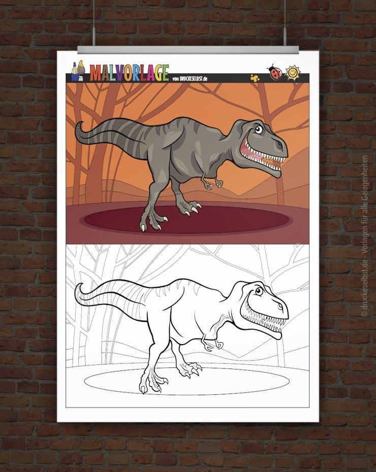 drucke selbst gratis malvorlage  ausmalbild dinosaurier