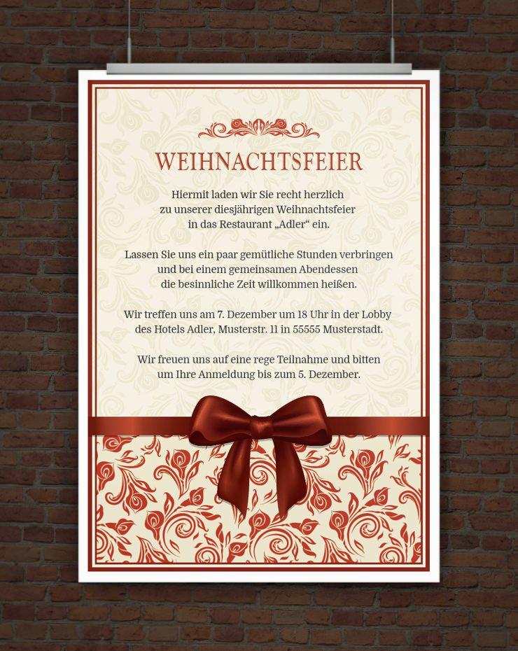 Drucke selbst! Vorlage Einladung Weihnachtsfeier