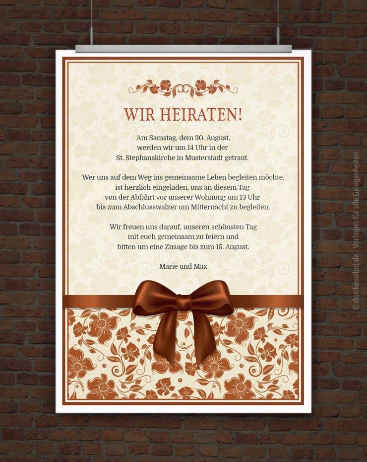 ... elegante Hochzeitseinladung mit floralen Elementen und Schleife könnt