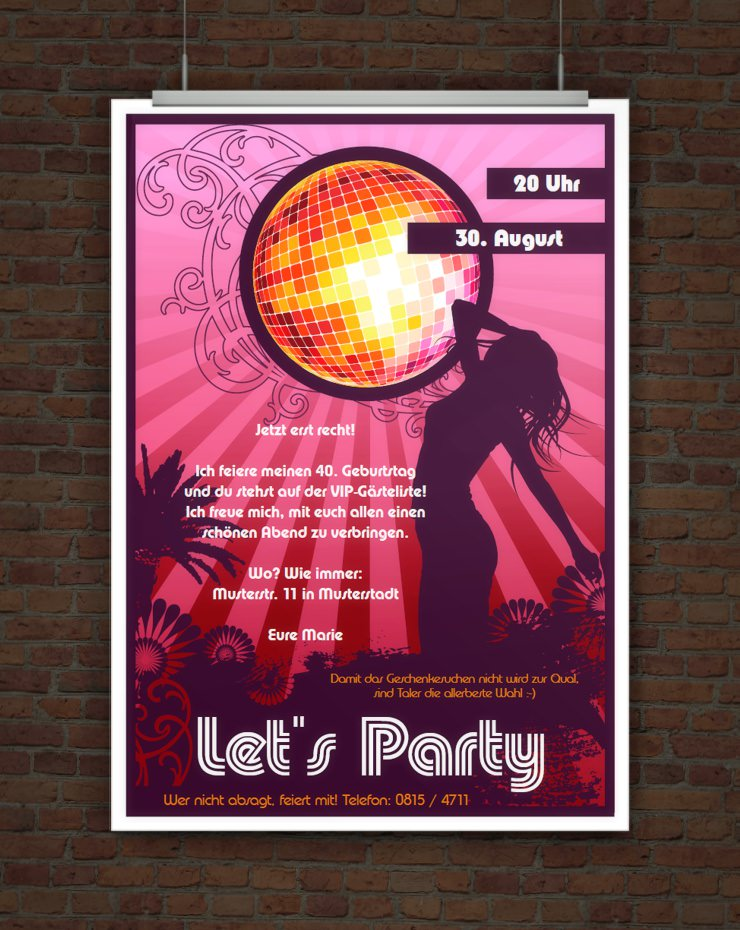 Let's Party! Partyeinladung mit Discokugel zum Ausdrucken