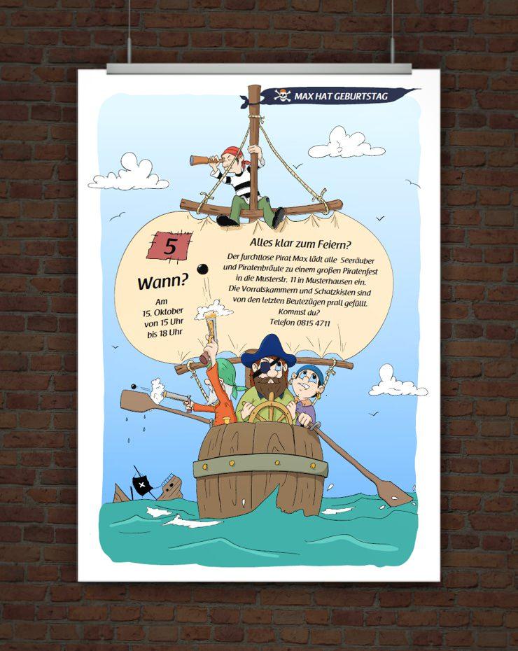 Drucke selbst! Einladung für einen Piratengeburtstag mit ...