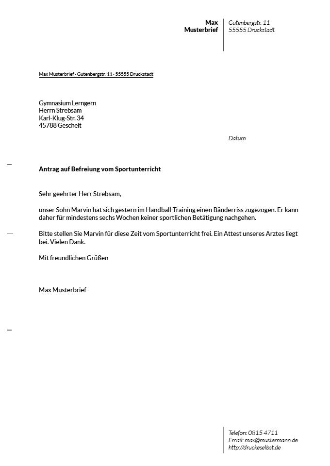 Drucke Selbst Briefvorlagen Für Schulentschuldigungen