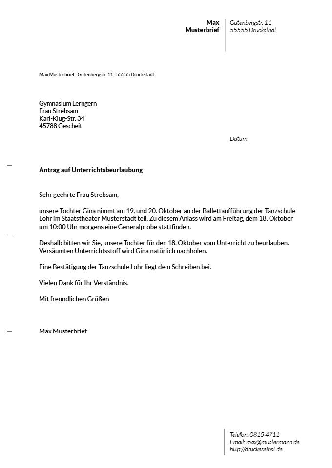 Beurlaubung Von Der Schule Muster Vorlage Zum Download 9