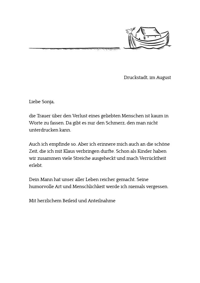 kondolenzbrief zum ausdrucken - Kondolenzbrief Muster