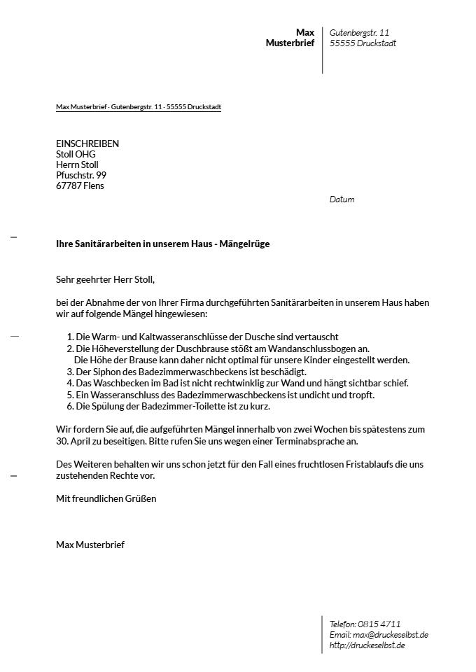Drucke Selbst Musterbriefe Für Mängelrüge Zahlungzurückbehaltung