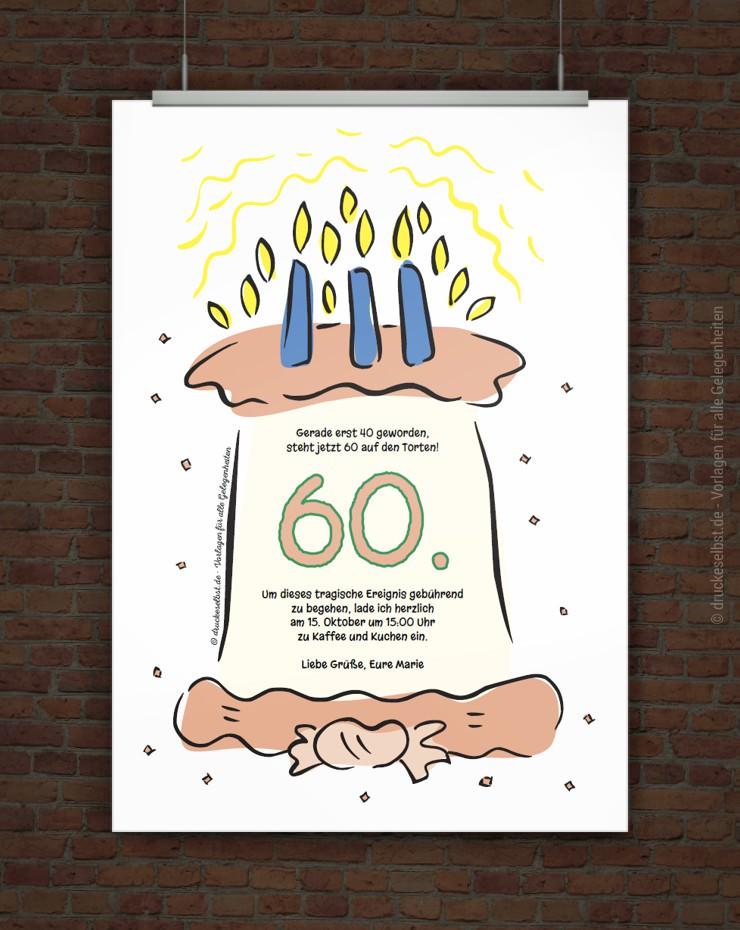 Drucke selbst! Kostenlose Einladung zum 60. Geburtstag