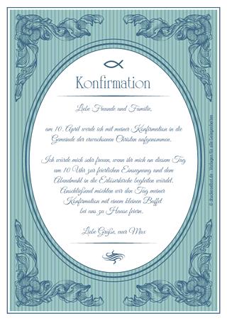 Konfirmationseinladung. Christliche Einladung