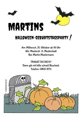 drucke selbst! halloweenkarten kostenlos online gestalten, Einladung