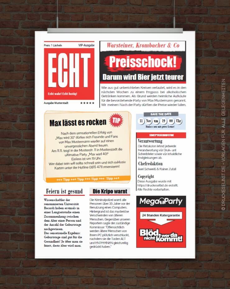 Drucke selbst! Einladung im Zeitungsstil kostenlos gestalten und drucken