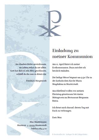 Einladung Kommunion Konfirmaton
