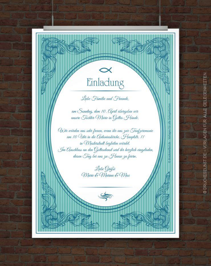 Drucke selbst! Kostenlose Einladung zur Taufe zum Ausdrucken