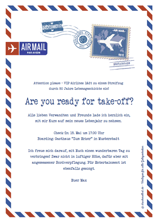 Geburtstagseinladung Airmail