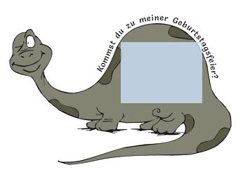 Drucke Selbst Einladungskarte Dino