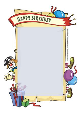 Drucke selbst! Kostenlose Geburtstagskarte Happy Birthday zum Ausdrucken