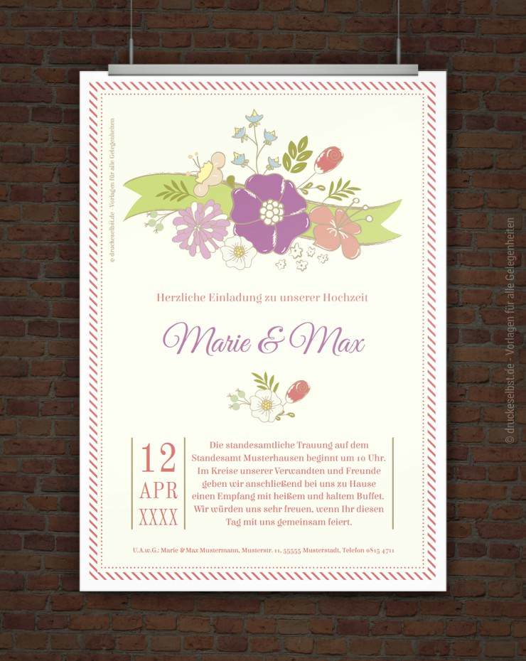 Kostenlose Hochzeitseinladungskarte