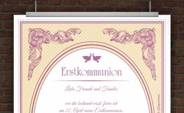 Drucke selbst kostenlose einladung kommunion - Vintage bilder kostenlos ...