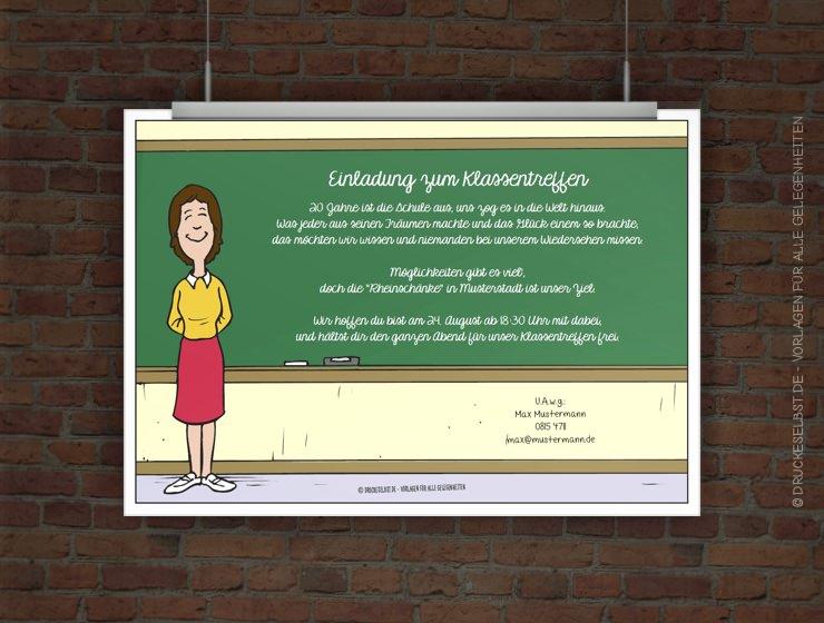 Drucke selbst! Kostenlose Einladung zum Klassentreffen zum Ausdrucken