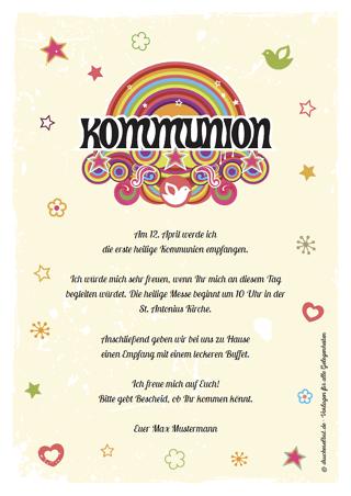 drucke selbst! kommunionkarten kostenlos online gestalten, Einladung