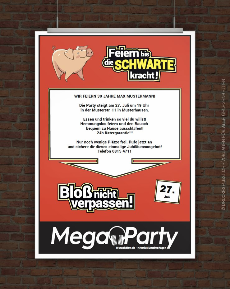 Drucke selbst! Kostenlose MegaParty-Einladung