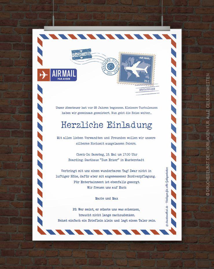 Drucke selbst! Originelle Einladung AIRMAIL zur Silberhochzeit