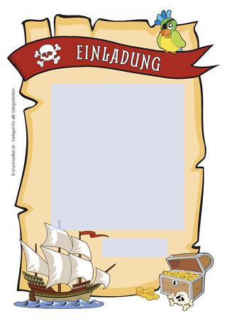 Drucke selbst! Pirateneinladung mit lustigem Einladungstext