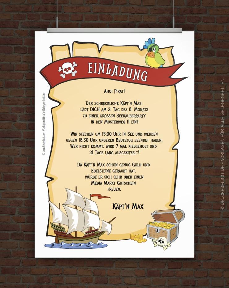 Einladungskarten Richtig Selbst Gestalten So Geht S: Drucke Selbst! Pirateneinladung Mit Lustigem Einladungstext