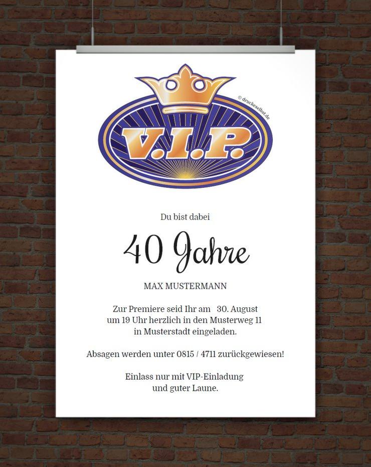 Drucke selbst! Kostenlose VIP Einladung zum Ausdrucken