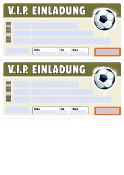 Kostenloses VIP Fussball Ticket Druckvorlage Kostenlos Gestalten ·  Vorlagenfelder: Markierte Felder Können Personalisiert Werden