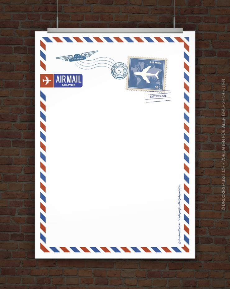 Drucke selbst kostenloses briefpapier airmail - Briefpapier vorlagen kostenlos ...