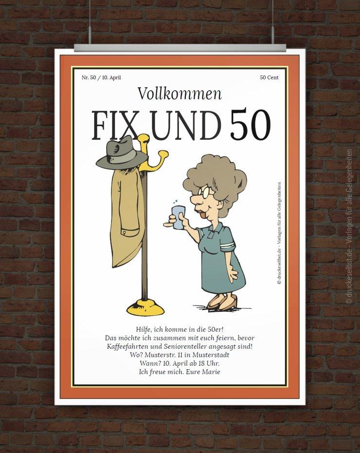 drucke selbst! lustige einladung zum 50. geburtstag, Einladung