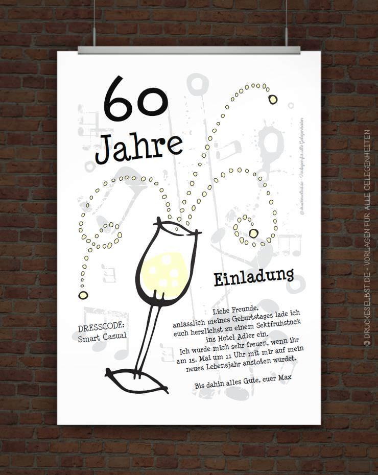 Kostenlose Einladungskarte Zum 60. Geburtstag