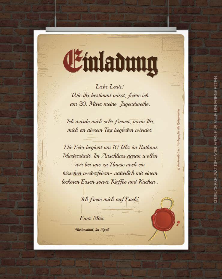drucke selbst! kostenlose einladung jugendweihe mit einladungstext, Einladungen
