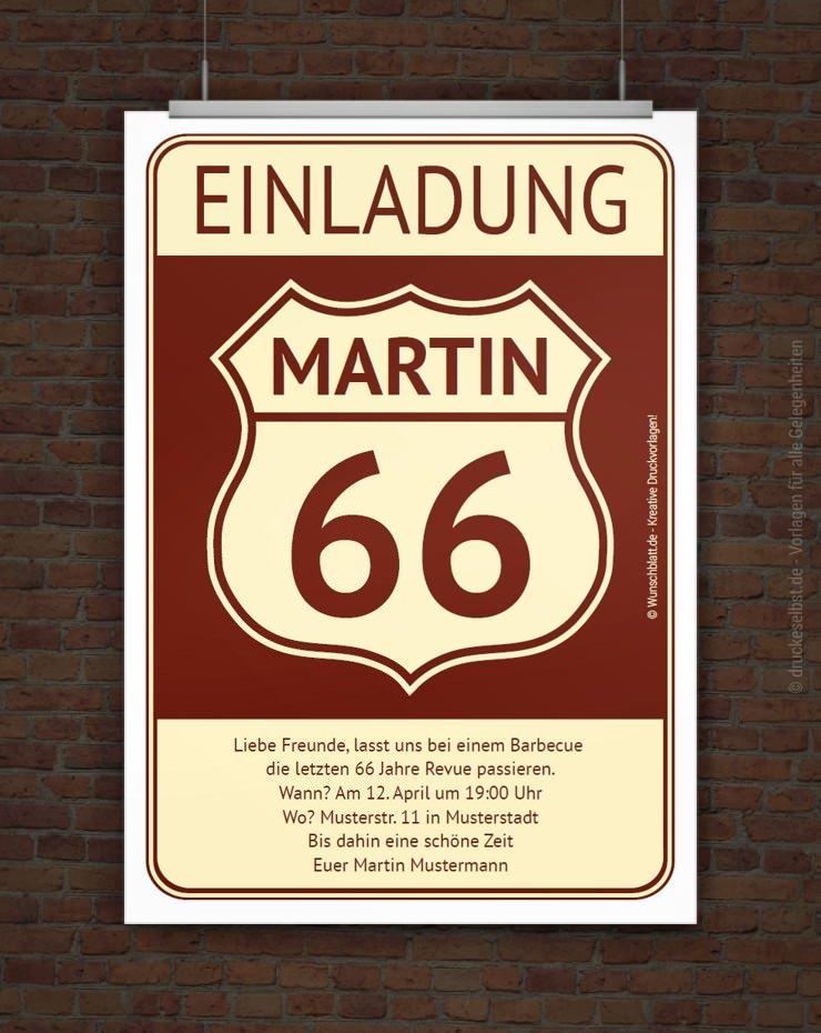 Kostenlose Geburtstagseinladung Route 66, schwarz-weiß