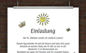 Kindergeburtstagseinladung Mit Einladungstext. © Druckeselbst! Einladung  Geburtstagsparty