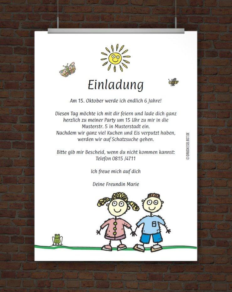 lustige kindergeburtstagseinladung mit einladungstext, Einladungsentwurf
