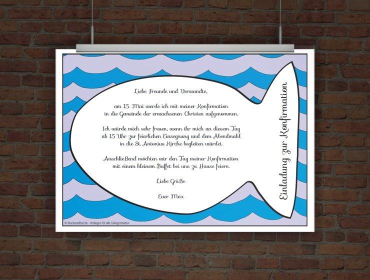 drucke selbst! kostenlose konfirmationseinladung fisch zum ausdrucken, Einladung