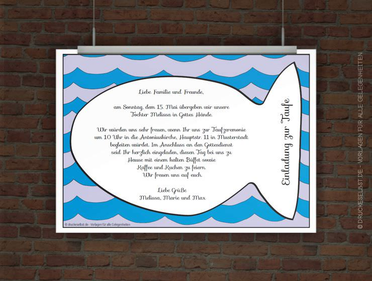 drucke selbst! kostenlose einladung zur taufe zum ausdrucken, Einladungsentwurf