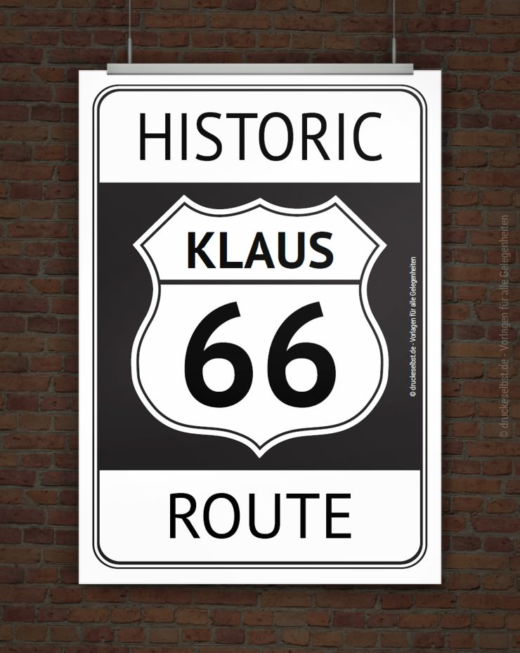 drucke selbst route66 poster zum ausdrucken. Black Bedroom Furniture Sets. Home Design Ideas
