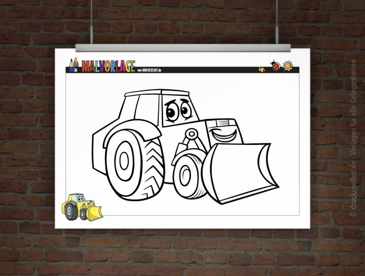 Drucke selbst! Kostenlose Malvorlage / Ausmalbild Bagger